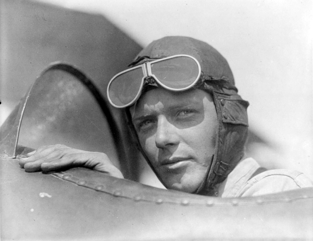 Charles Lindbergh_wearing_helmet_with_goggles_up