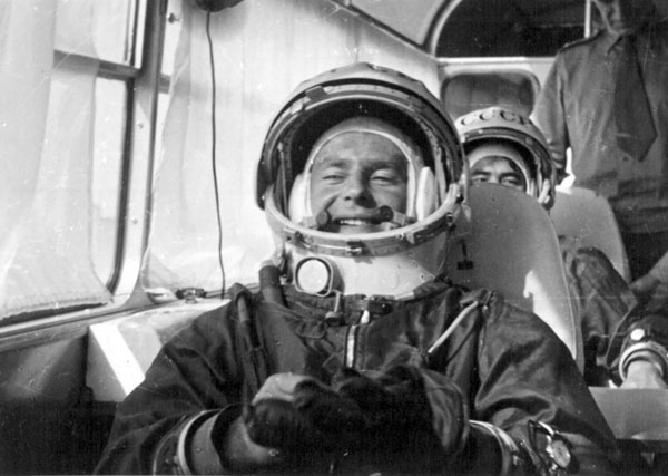 Pilot-cosmonaut German Titov on the way to the cosmodrome s